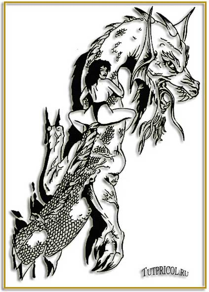 Эскиз татуировки девушка на драконе